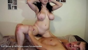 busty woman in uniform riding cock after pussy licking