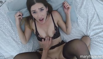 Young red girl Elin Holm caught her stepbrother and saw his cock